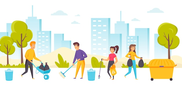 Heureux hommes et femmes nettoyant la rue de la ville