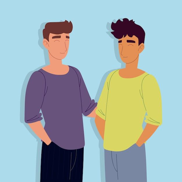 Heureux hommes personnages amis ensemble