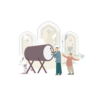 Heureux ied mubarak salut illustration de concept