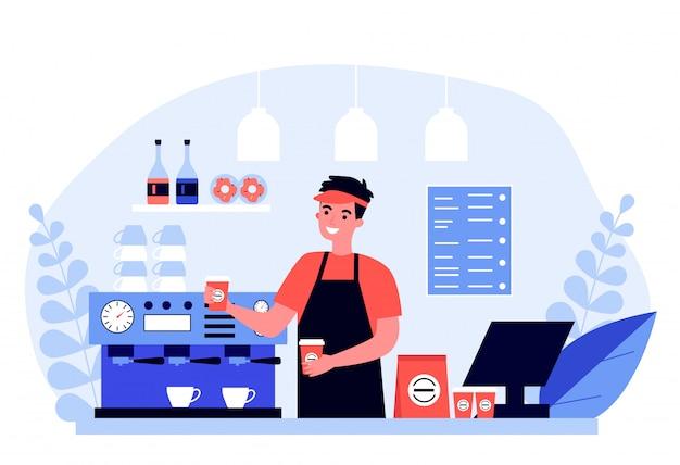 Heureux jeune barista faisant du café pour le client