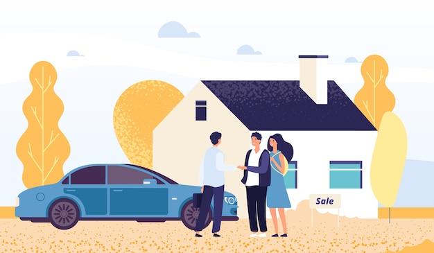 Heureux jeune couple achetant une maison