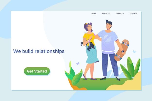 Heureux jeune couple bénéficiant d'une journée dans le parc. ensemble. relation, rencontres en ligne.