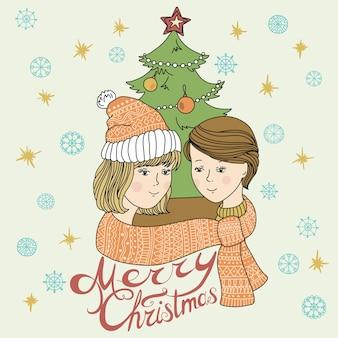 Heureux jeune couple en hiver. l'amour. noël