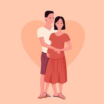 Heureux jeune couple marié. dessin animé, femme enceinte, à, partenaire, ou, mari, homme, caractère, debout, ensemble