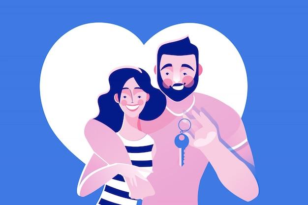 Heureux jeune couple tenant les clés