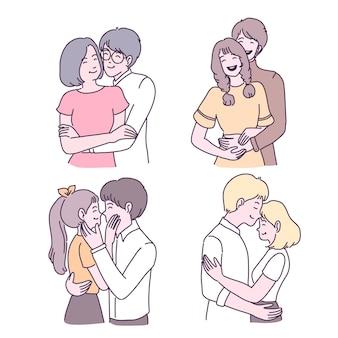 Heureux, jeune fille, et, garçon, amoureux, illustrations, ensemble