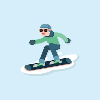 Heureux jeune homme faisant du ski