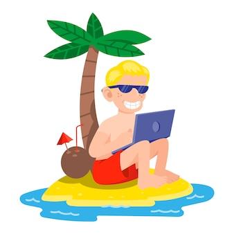 Heureux jeune homme freelance travaille à l'extérieur d'une île tropicale près de l'océan. entreprise indépendante de travail d'été soleil chaud relax plage. illustration de style moderne personnage de dessin animé isolé sur fond blanc