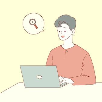 Heureux jeune homme travaillant sur ordinateur portable pour la recherche, flux de travail indépendant sur ordinateur, en utilisant internet, illustration de style dessinés à la main.