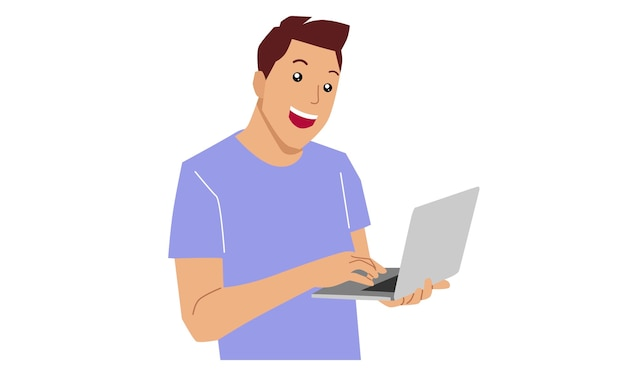 Heureux jeune homme travaillant sur ordinateur portable