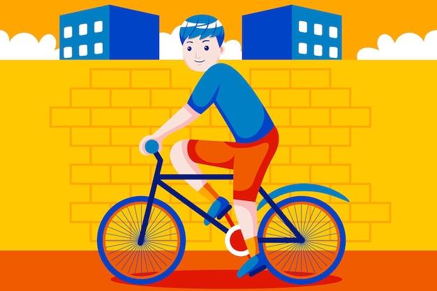 Heureux jeune homme à vélo à la ville.