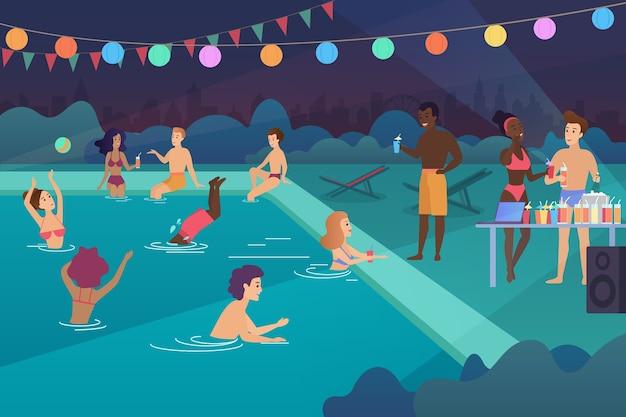 Heureux les jeunes ayant une fête au bord de la piscine à l'illustration de dessin animé de nuit