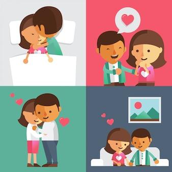Heureux jeunes couples amoureux