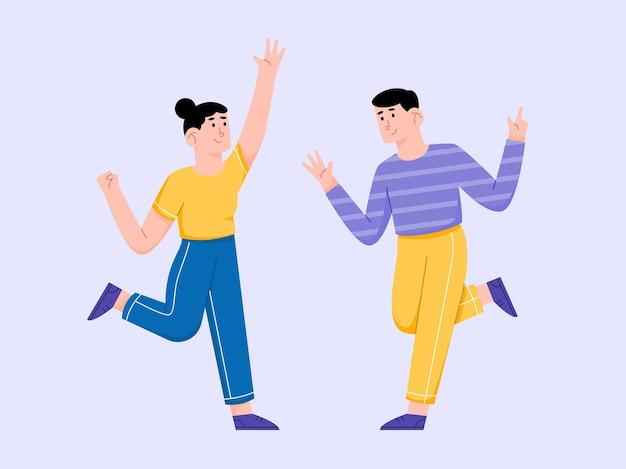 Heureux jeunes dansant