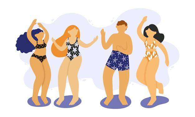 Heureux jeunes danser en maillot de bain