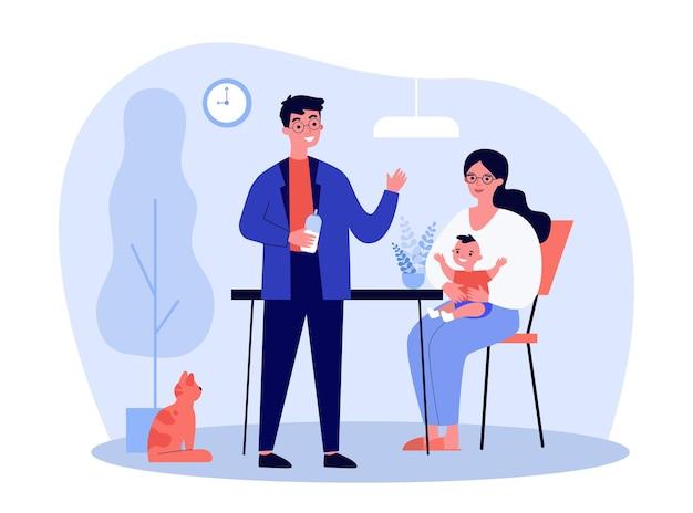 Heureux Jeunes Parents Nourrir Bébé à La Maison. Lait, Chat, Illustration Plate De La Mère. Concept De Parentalité Et De Famille Vecteur Premium