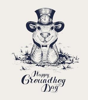 Heureux jour de la marmotte, lettrage de texte pour carte de voeux. une drôle de marmotte au chapeau sort du trou et se tourne vers l'avenir