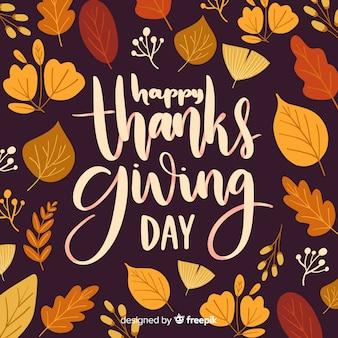 Heureux jour de thanksgiving lettrage de fond