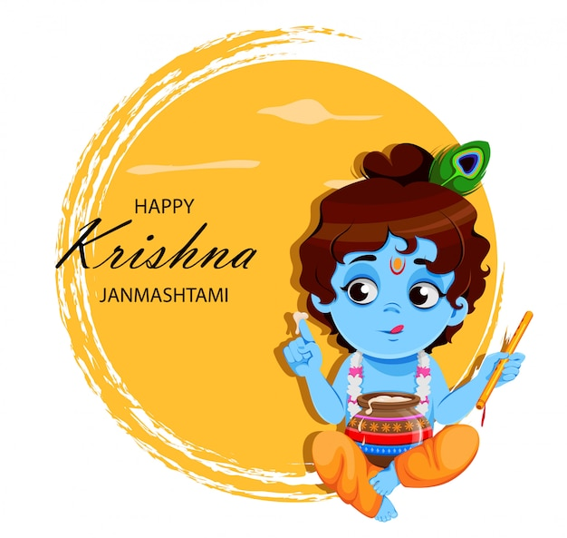 Heureux krishna janmashtami. petit seigneur krishna