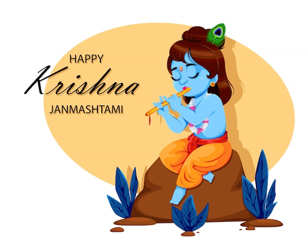 Heureux krishna janmashtami. seigneur krishna