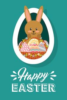 Heureux lapin de carte de pâques avec cadre ovale de panier oeufs