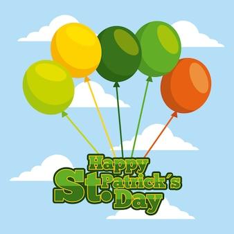 Heureux lettrage de carte de jour de patricks avec le ciel de ballons