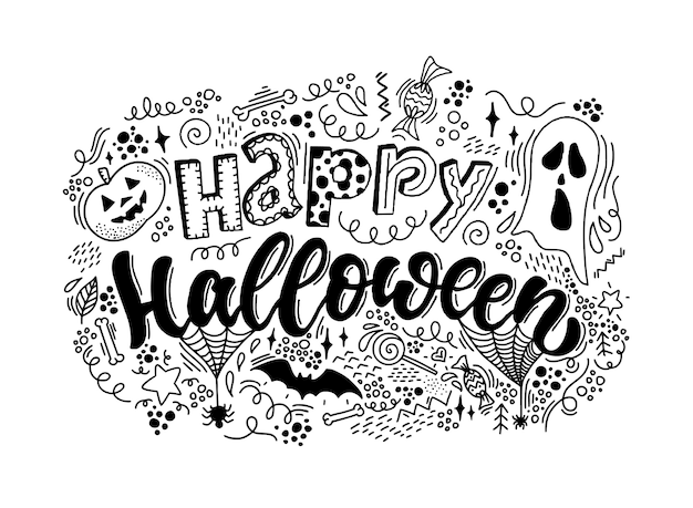 Heureux lettrage d'halloween avec des griffonnages