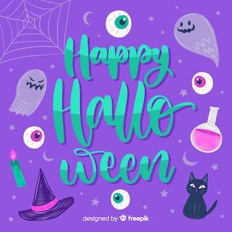 Heureux lettrage de sorcellerie d'halloween