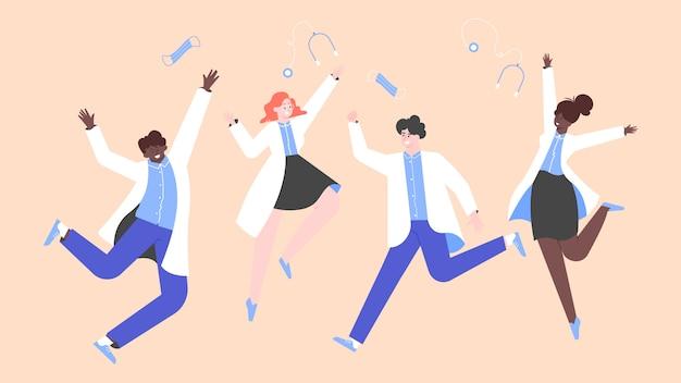 Heureux médecins multinationaux sautant joyeusement. les gens en blouse blanche. gagnants et héros. illustration plate.