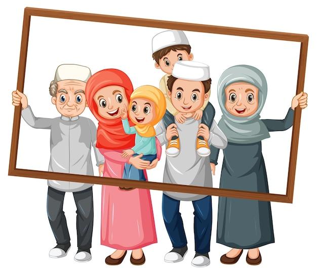 Heureux Membre De La Famille Tenant Un Cadre Photo Vecteur gratuit