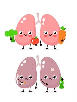Heureux mignon souriant sain avec brocoli et pomme et poumons malades tristes avec une bouteille d'alcool et de cigarette. conception d'icône illustration de personnage de dessin animé de style moderne poumons sains et malsains
