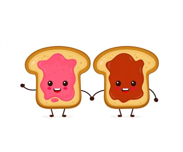 Heureux mignon souriant toasts drôles avec de la confiture et du beurre de cacahuète