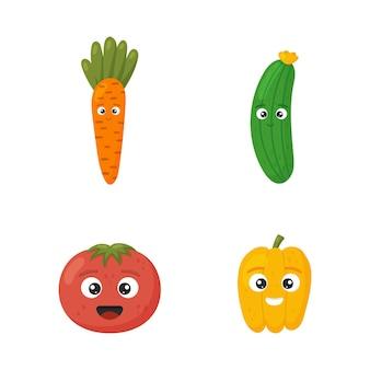 Heureux mignon tomate, concombre, poivron, carotte pour les enfants en style cartoon isolé sur fond blanc. légumes de jeu de caractères drôles.