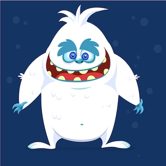 Heureux monstre de bande dessinée yeti bigfoot. illustration vectorielle pour halloween