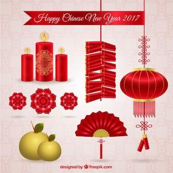 Heureux nouvel an chinois de 2016 éléments emballent