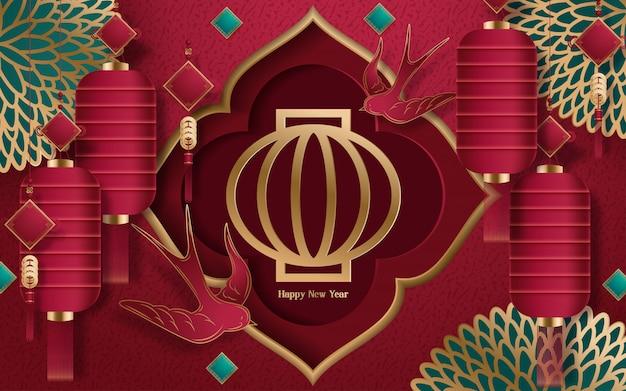 Heureux nouvel an chinois 2020 année du style de papier découpé rat