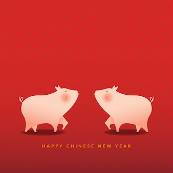 Heureux. nouvel an chinois, l'année du cochon.
