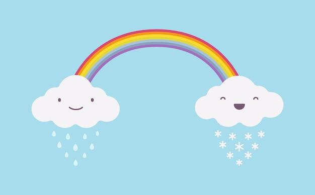 Heureux nuages blancs pluvieux et neigeux mignons avec un arc-en-ciel