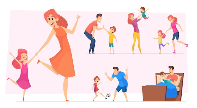 Heureux parents avec enfants jouant, apprenant et dansant