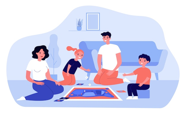 Heureux parents et enfants jouant au jeu de société