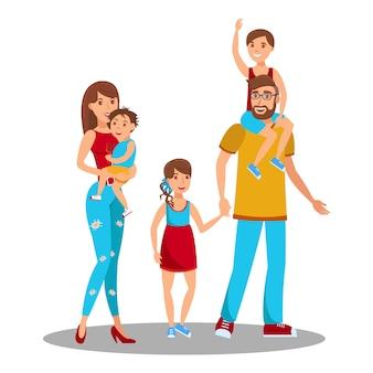 Heureux parents avec enfants