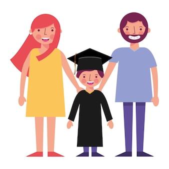 Heureux parents et illustration vectorielle de garçon diplômé