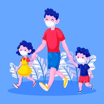 Heureux père et enfants marchant