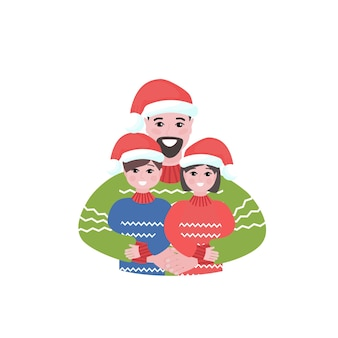 Heureux père avec des enfants à noël portant papa embrasse l'illustration festive de ses enfants