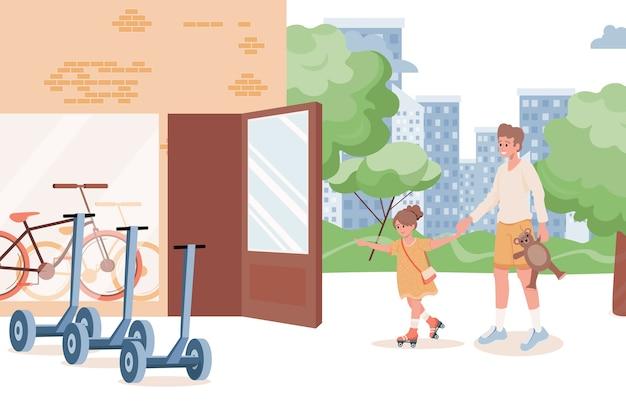 Heureux père et fille souriant, passer du temps ensemble illustration plat extérieur. fille et papa vont à la location de skate en ville. temps en famille, concept de week-end d'été.