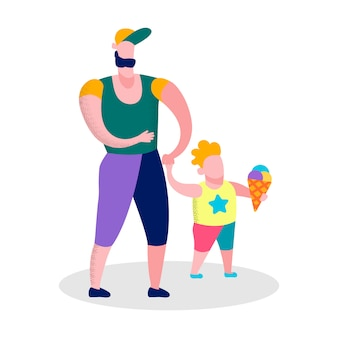 Heureux père fils marchant bannière de loisirs en famille