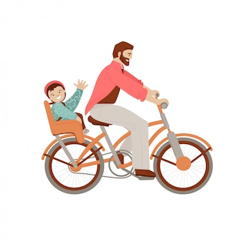 Heureux père monté sur un vélo avec un enfant sur le siège de vélo de porte-bébé, agitant sa main et de bonne humeur. heureux père avec enfant faisant des activités d'été en vélo