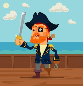 Heureux personnage de capitaine pirate.
