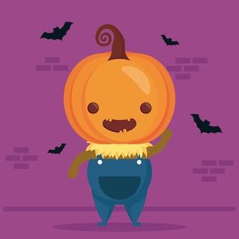 Heureux personnage de citrouille mignon halloween et chauves-souris volant