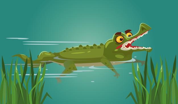 Heureux personnage de crocodile souriant nageant.